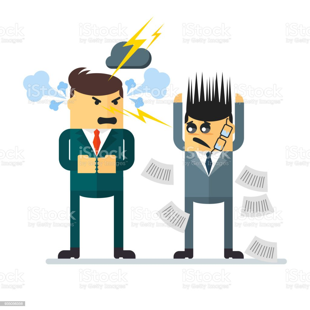 Ilustración de Pelea Conflicto En La Oficina Escándalo Entre Jefe Y ...
