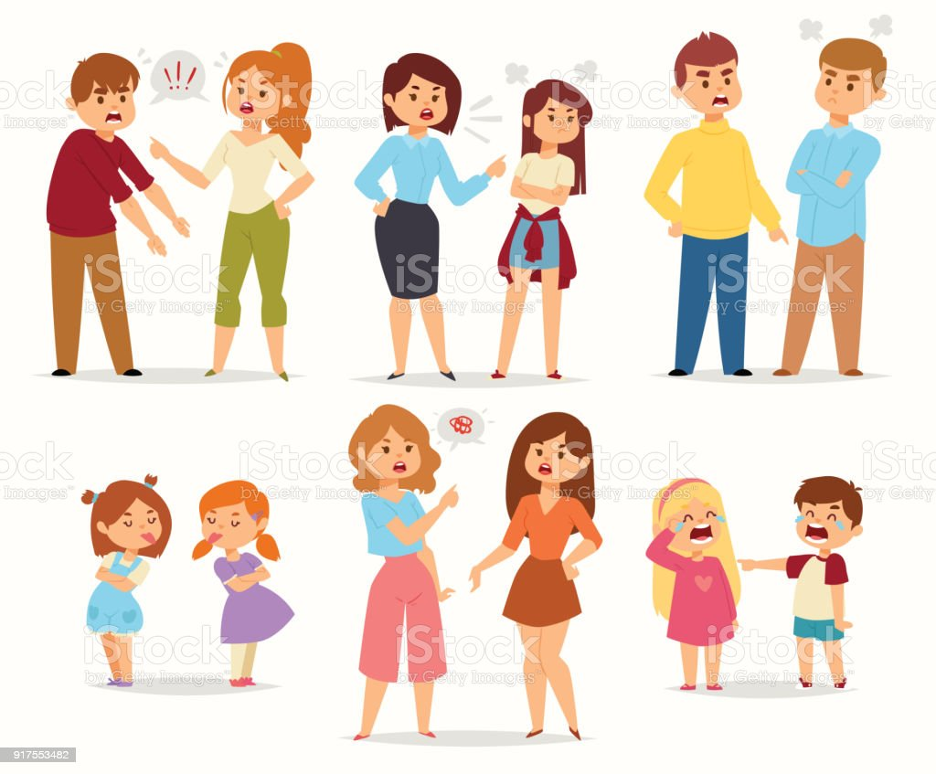Discutir conflito stress casais personagem vector pessoas com argumentando contra pessoas em situações diferentes, em estilo simples e ilustração gritando - ilustração de arte em vetor