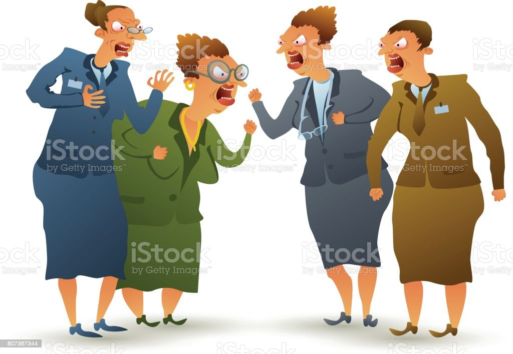 Quarrel of women vector art illustration