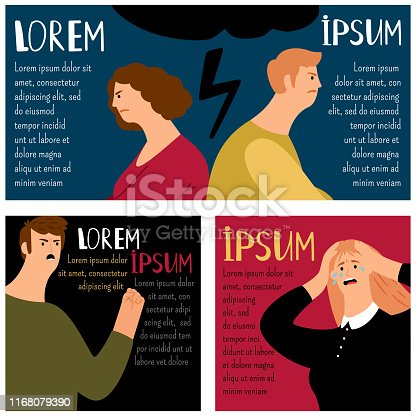 Quarrel and argue people cards collection, vector illustration