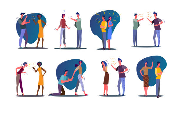 Quarrel relationship set Quarrel relationship set. Couple and friends arguing and shouting at each other. Flat vector illustrations. Communication, stress, conflict concept for banner, website design or landing web page arguing stock illustrations