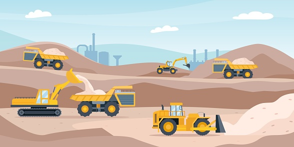 Quarry landscape. Sand pit with heavy mining equipment, bulldozer, digger, trucks, excavator and factory. Open mine industry vector concept