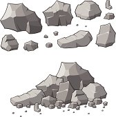 Lots of rocks in different sizes, assemble as you see fit.