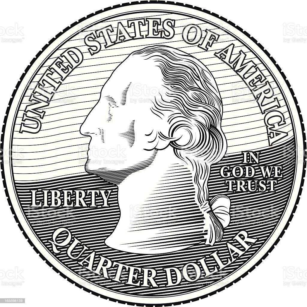 Quarter BW royalty-free stock vector art