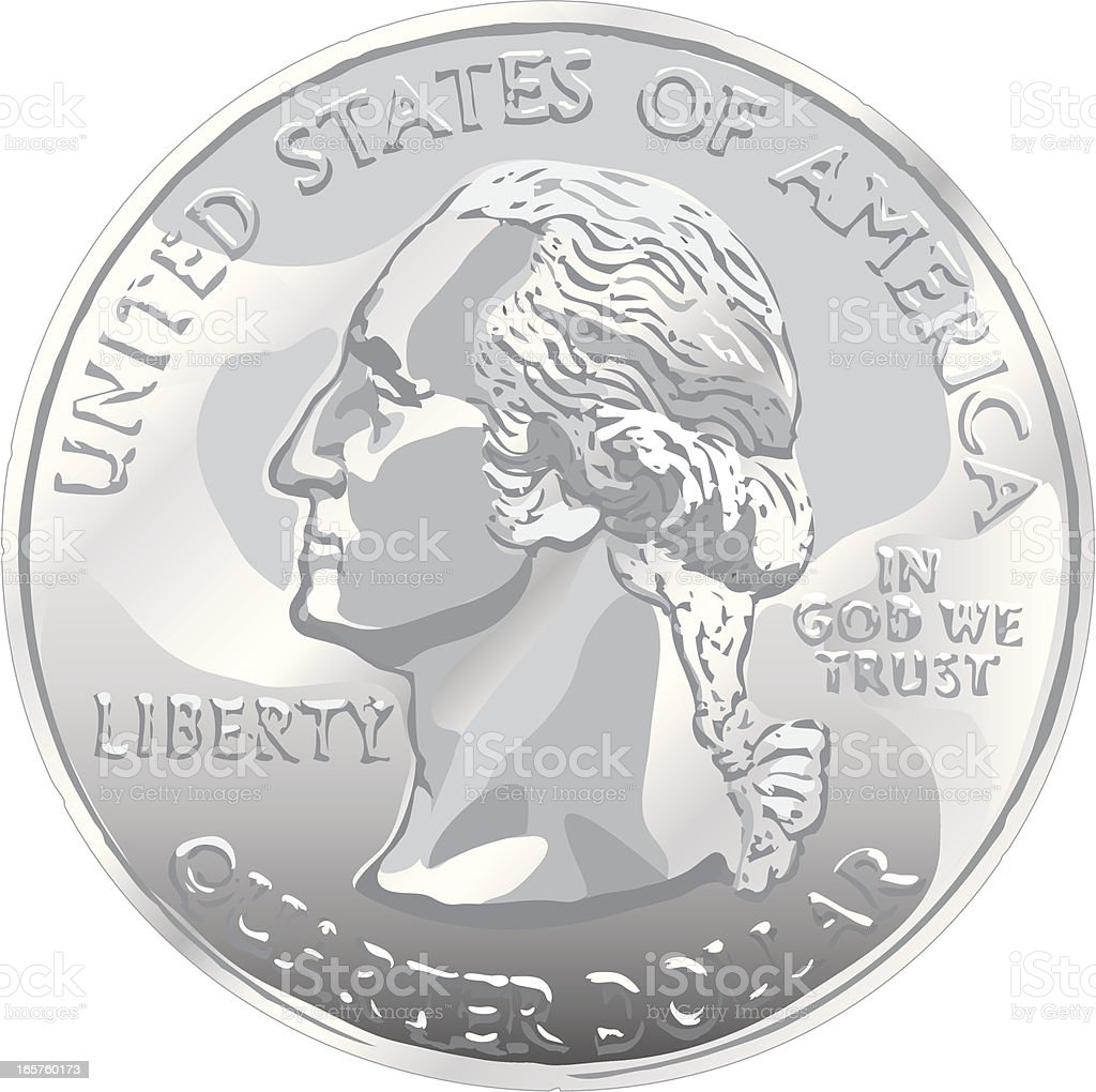 Us Quarter Dollar Coin On White Background Stock Illustration Download Image Now Istock
