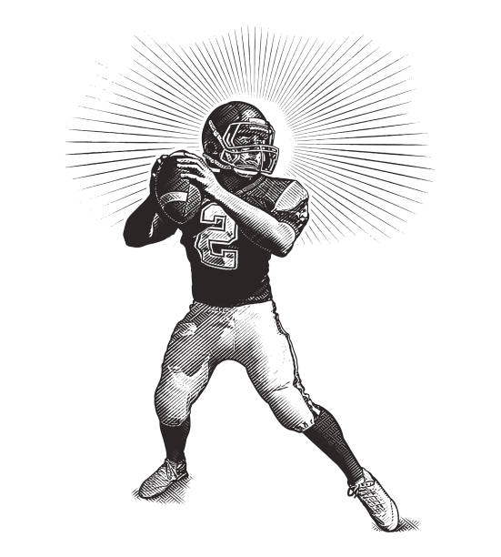 quarterback passing football - граттаж stock illustrations