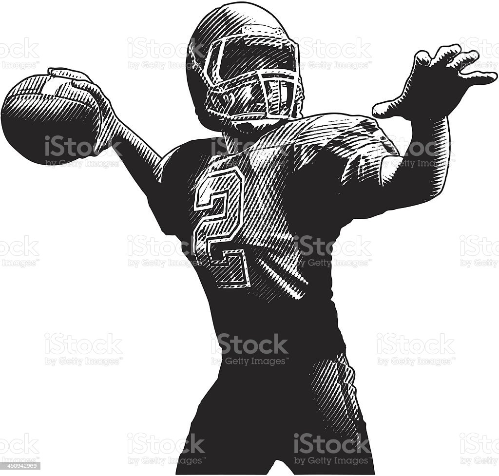 Quarterback Passing vector art illustration