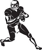 American football player running with the ball, derived from my hand drawn sketch.