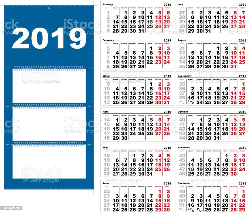 Vetores De Parede Trimestral Calendário Para 2019 Modelo De