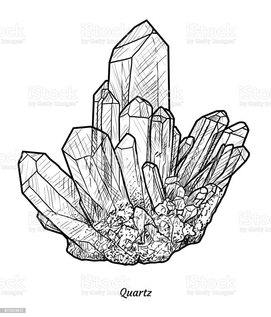 quartz illustration drawing engraving ink line art vector