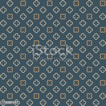 Quatrefoil ornamental blue and beige pattern. Decorative floral trellis. Vector design.