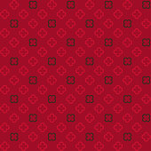 Quatrefoil ornamental red and brown pattern. Decorative floral trellis. Vector design.