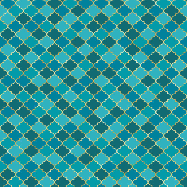 Quatrefoil Seamless Pattern Classic quatrefoil repeating pattern design morocco stock illustrations
