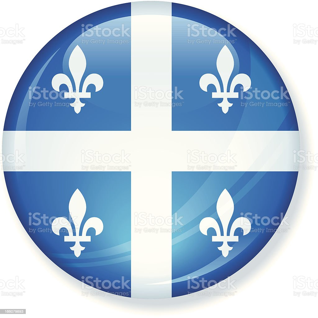 Québec State Flag Button royalty-free stock vector art