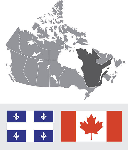 Quebec, Canada Map and Flag A map of Canada highlighting the province of Quebec. Also includes both a Provincial and Canadian flag. quebec stock illustrations