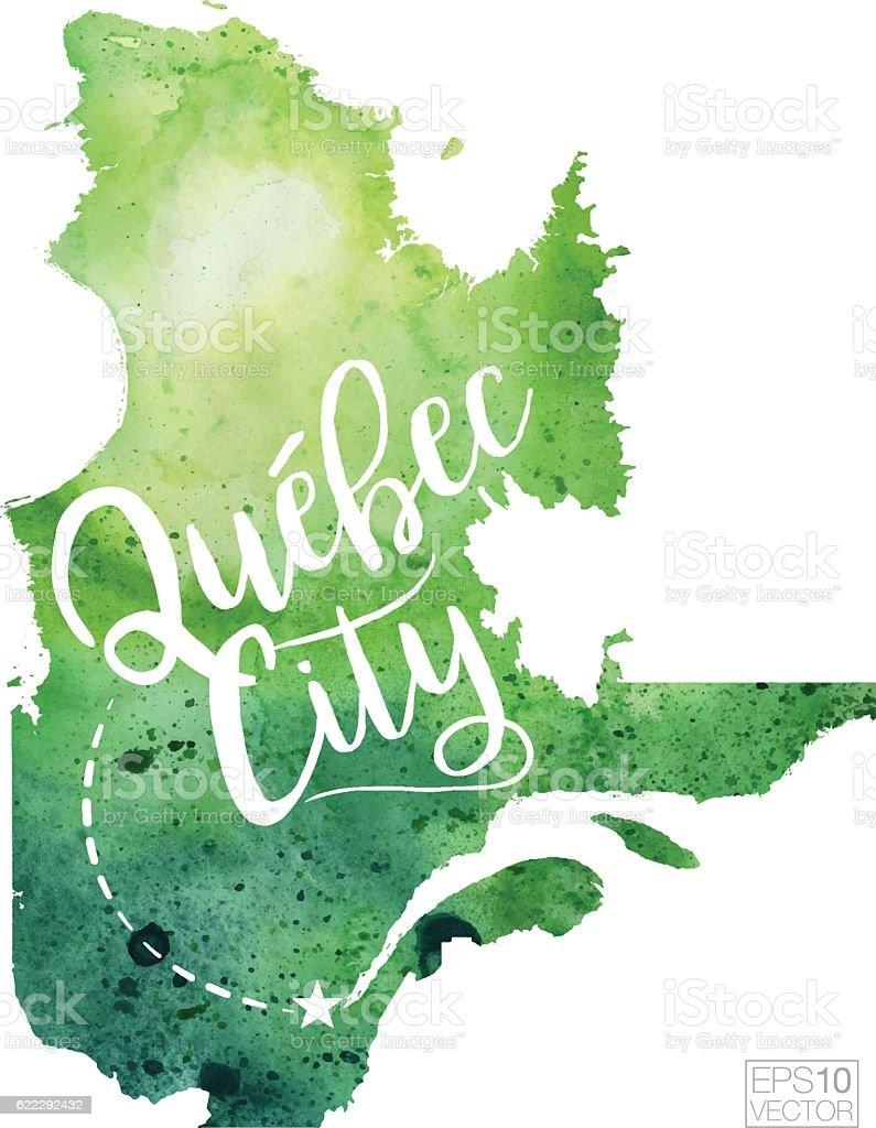 Quebec City Quebec Vector Watercolor Map Stock Vector Art - Quebec city canada map