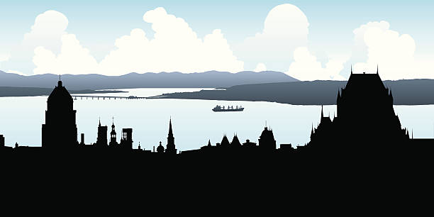 Quebec City Silhouette Skyline silhouette of Quebec City. quebec stock illustrations