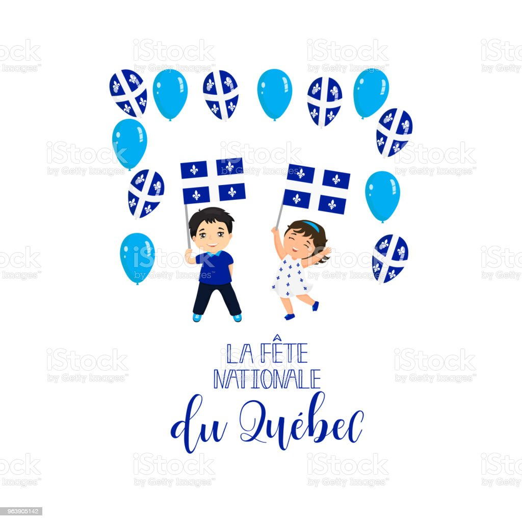 Quebec National Day greeting card. Vector Illustration. Translation from French: Quebec National Day. - Royalty-free 1834 stock vector