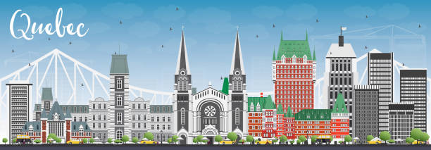 Quebec Skyline with Gray Buildings and Blue Sky. Quebec Skyline with Gray Buildings and Blue Sky. Vector Illustration. Business Travel and Tourism Concept with Historic Architecture. Image for Presentation Banner Placard and Web Site. quebec stock illustrations