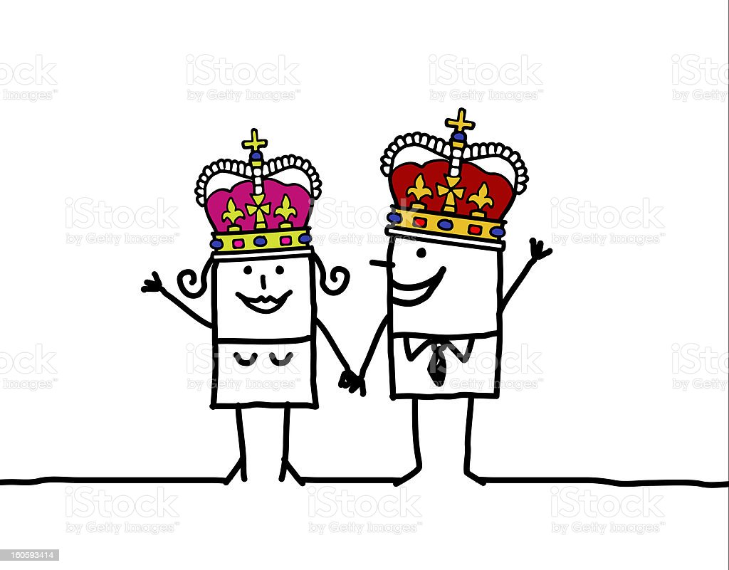 Queen & King royalty-free stock vector art