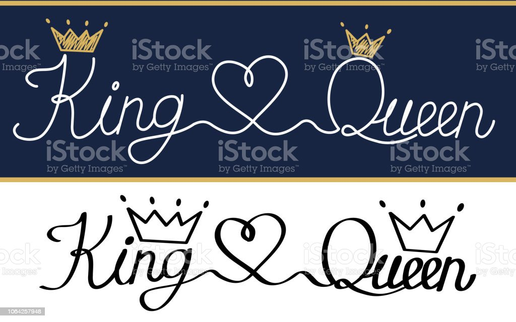 Queen And King Black Text Logo Royal Crown And Tiara Stock