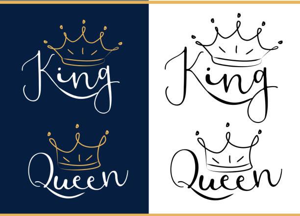 illustrations, cliparts, dessins animés et icônes de reine et roi. logo de texte noir avec couronne royale et le diadème. - diademe