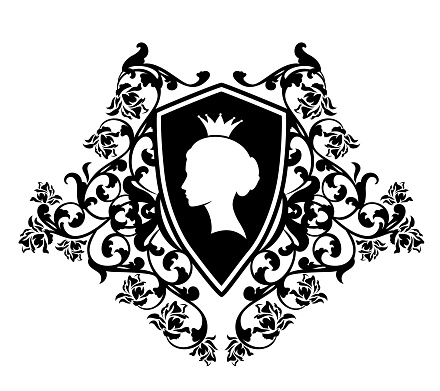 queen and rose flowers heraldic shield black and white vector design