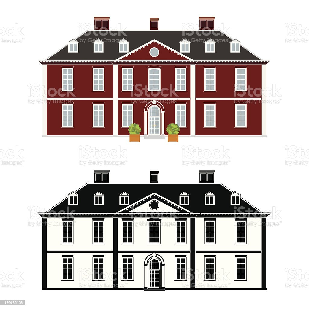 Queen Anne Style Mansion vector art illustration