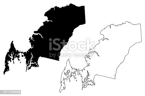 istock Queen Annes County, Maryland (U.S. county, United States of America, USA, U.S., US) map vector illustration, scribble sketch Queen Anne's map 1271703329