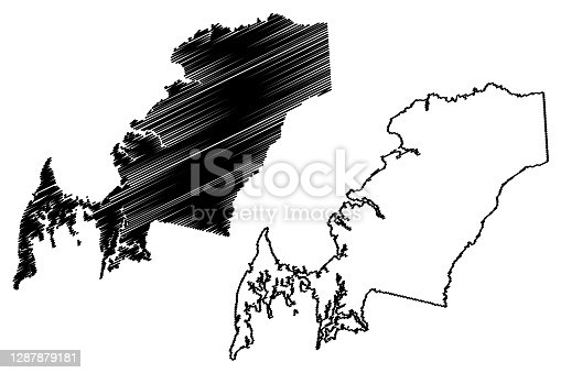 istock Queen Annes County, Maryland (U.S. county, United States of America, USA, U.S., US) map vector illustration, scribble sketch Queen Anne's map 1287879181