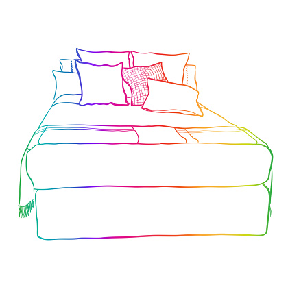 Queen Bed And Cushions Rainbow