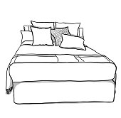 Freehand drawing of a queen bed with cushions