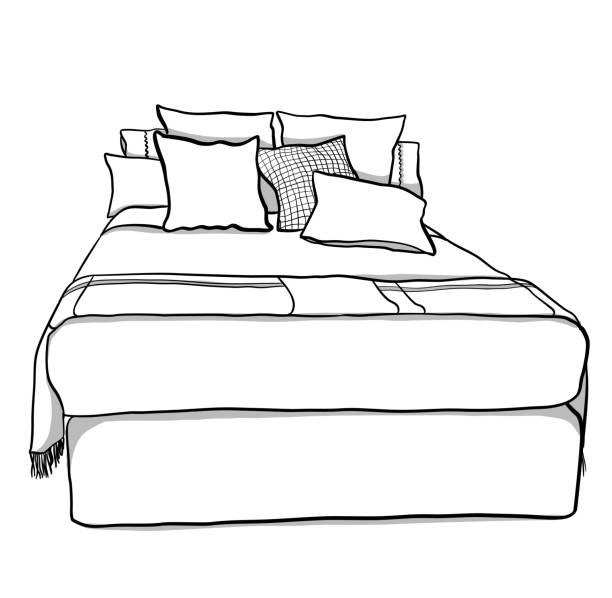 Queen Bed And Cushions – Vektorgrafik