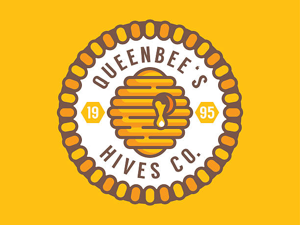queen bee hive hive illustration on the honey themed circle badge queen bee stock illustrations