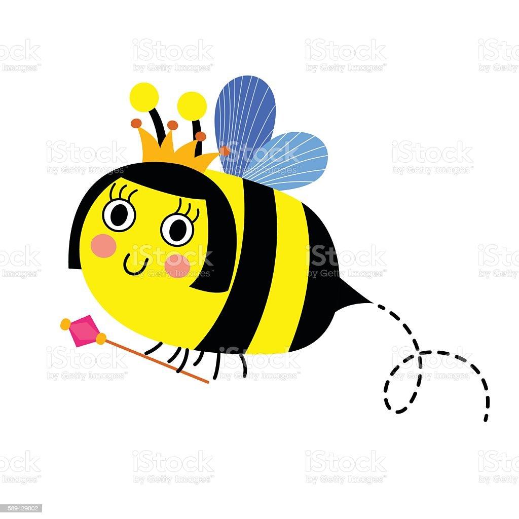 queen bee holding scepter animal cartoon character vector