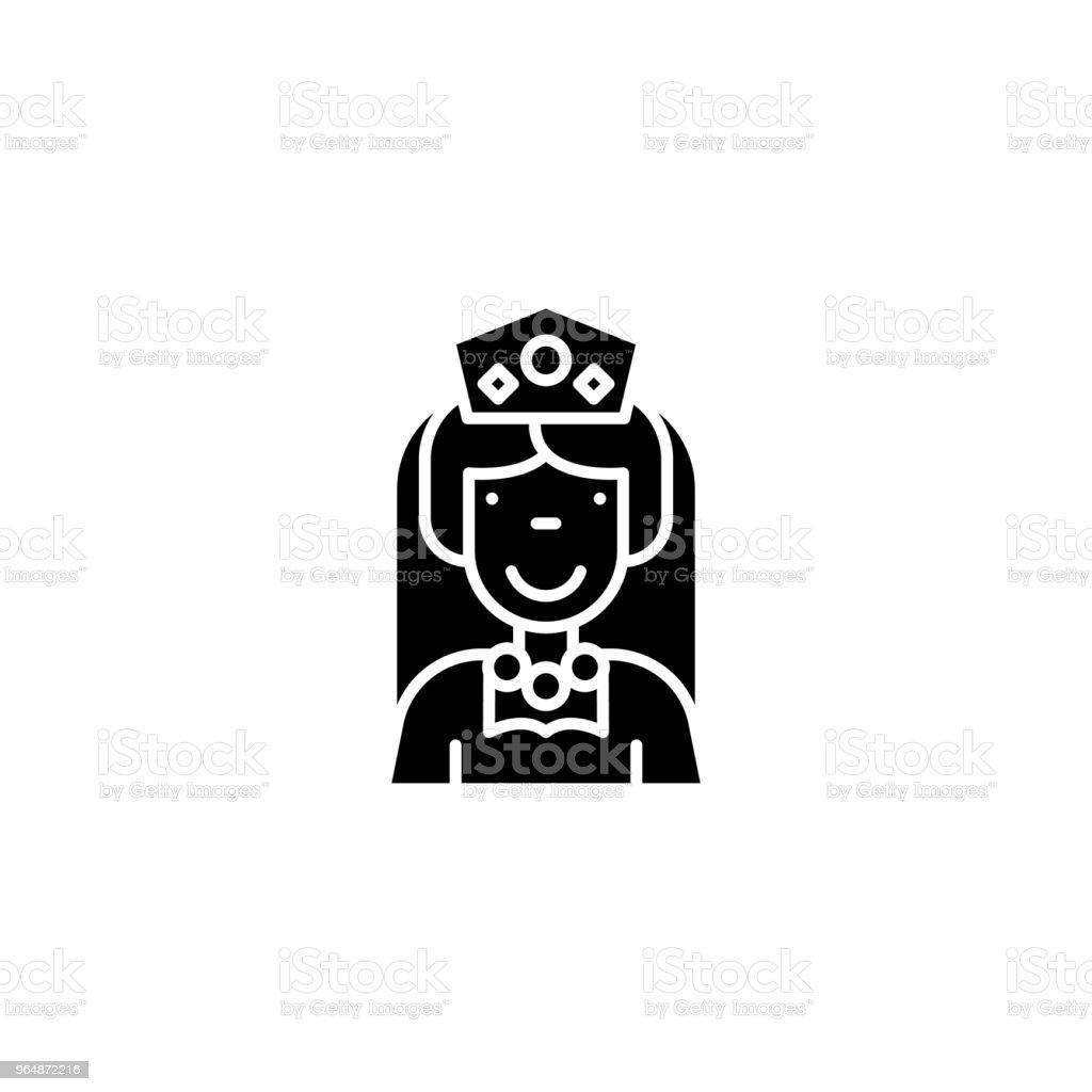 黑皇后圖示概念。皇后平面向量符號, 符號, 插圖。 - 免版稅中古時代圖庫向量圖形