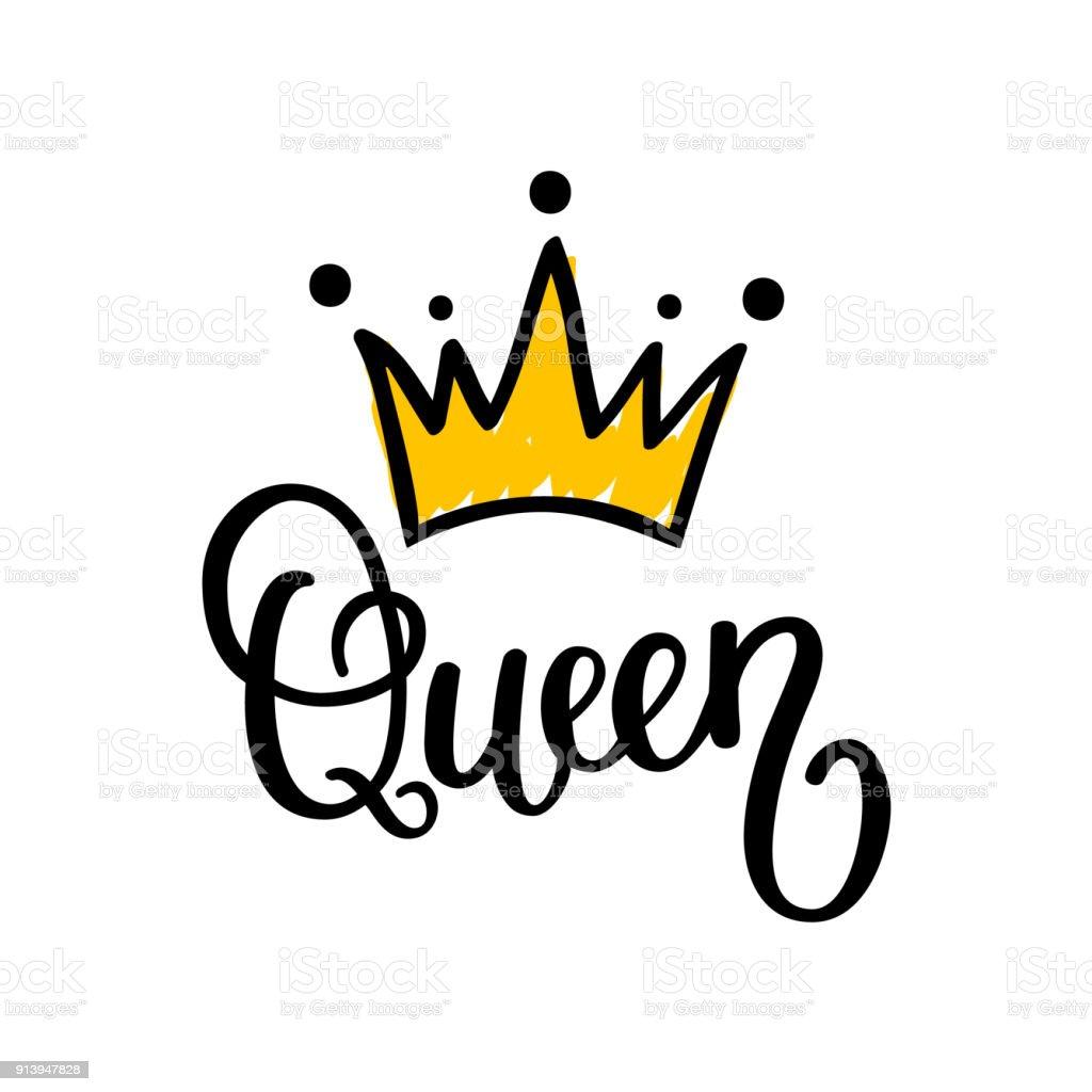 Diseño del Reina corona vector caligrafía - ilustración de arte vectorial