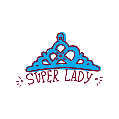 Queen crown with inscription Super Lady doodle vector illustration isolated.