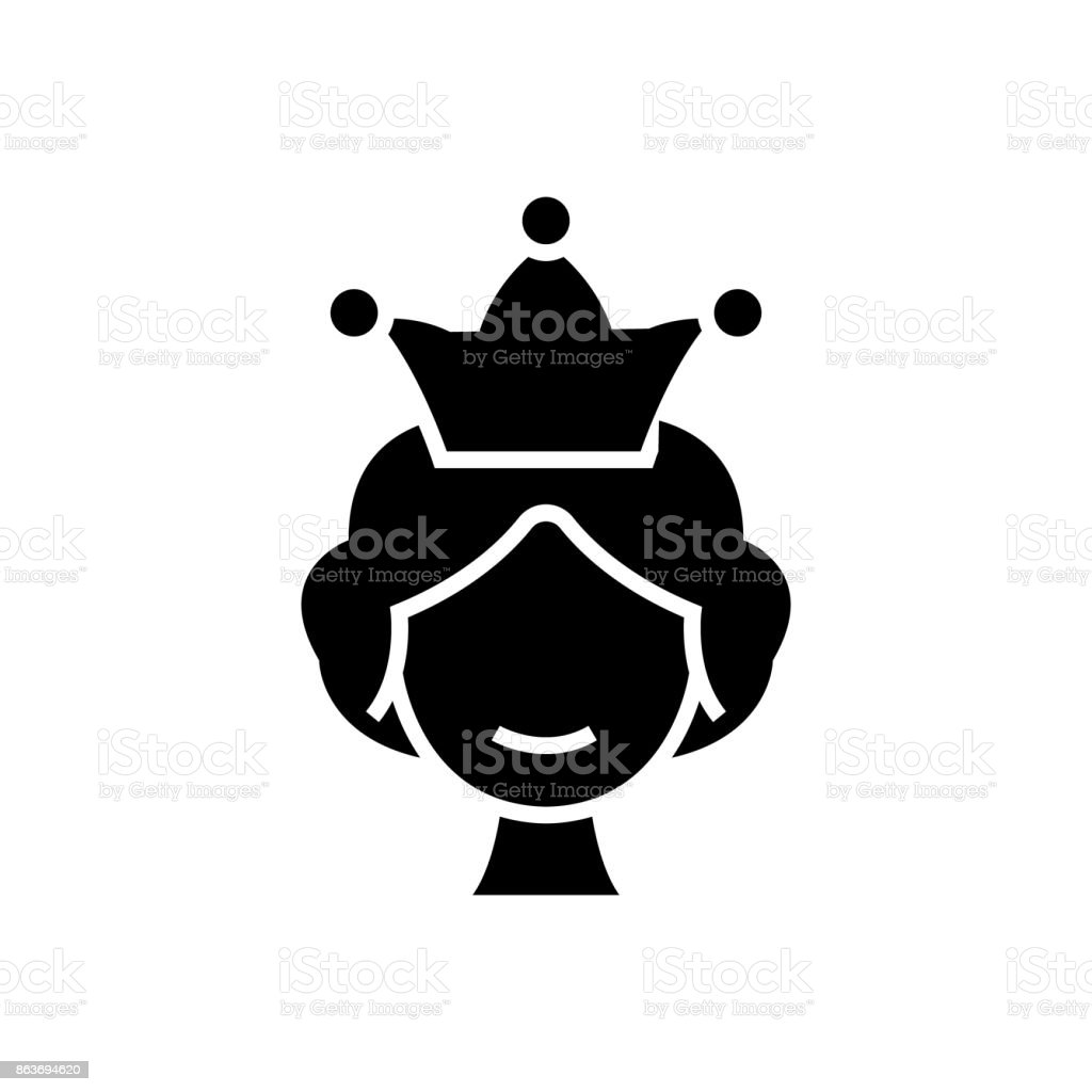 Queen Icon Vector Illustration Black Sign On Isolated ...