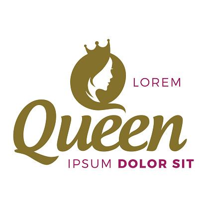 queen logo design with beaty woman symbol
