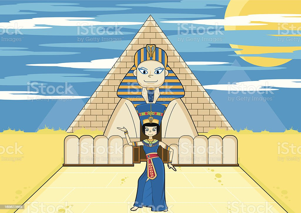 Queen Nefertiti Egyptian & Sphinx vector art illustration