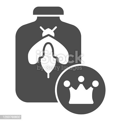 istock Queen of bees in bank solid icon, Honey concept, Queen Bee sign on white background, Bee in glass jar and crown icon in glyph style for mobile concept and web design. Vector graphics. 1253765832