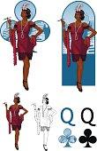 Queen of clubs afroamerican starlet Mafia card set