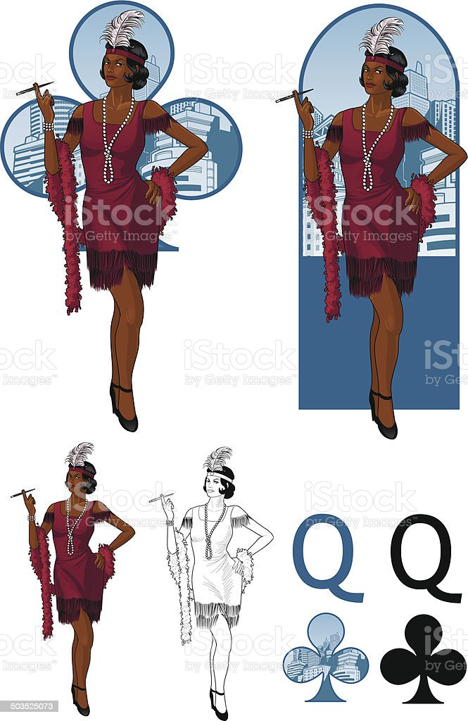 Queen of clubs afroamerican starlet Mafia card set vector art illustration