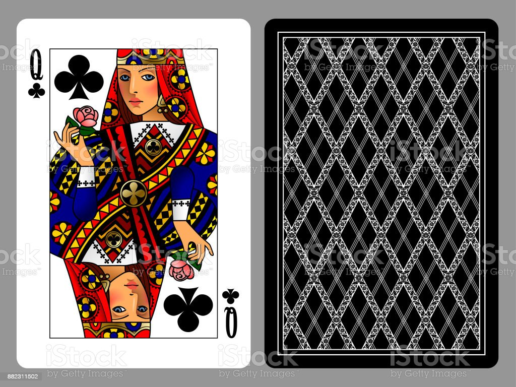 Queen of Clubs playing card and the backside background vector art illustration