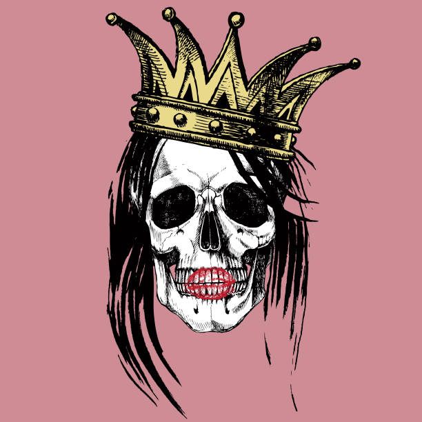 Queen of death. Queen of death. Portrait of a skull with a crown and long hair. Raster hand drawn rock illustration for your fashion design. goth stock illustrations