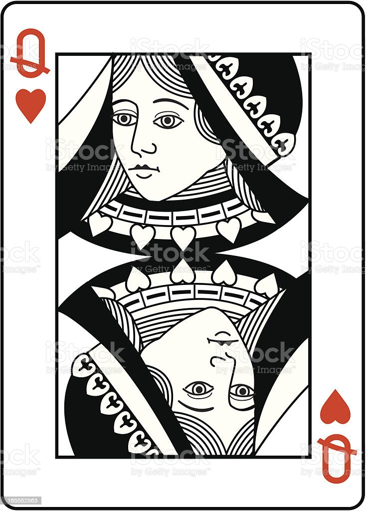 Queen of Hearts black and white head. vector art illustration