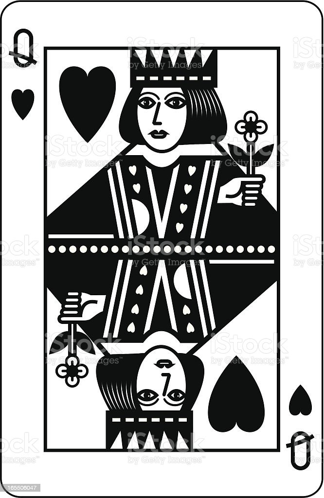 Queen of Hearts Black vector art illustration