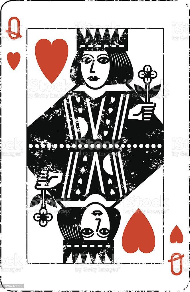 Queen of Hearts Grunge vector art illustration