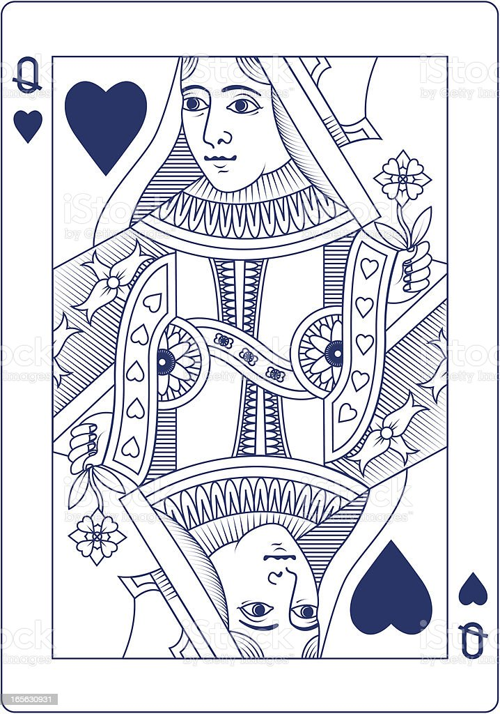 Queen of Hearts in blue line playing card vector art illustration